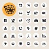 Icone di vacanza e di viaggio messe Fotografie Stock Libere da Diritti
