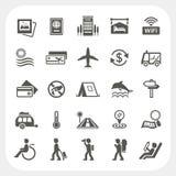 Icone di vacanza e di viaggio messe Immagine Stock