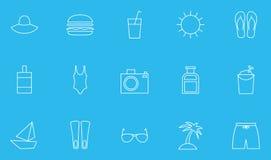 Icone di vacanze del mare e della località di soggiorno messe Immagini Stock Libere da Diritti