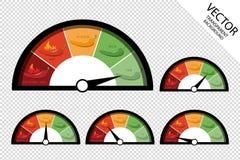 - Icone di valutazione del tachimetro - illustrazione calda di Chili Peppers Sharpness Scale Low ed estrema media delicata di vet royalty illustrazione gratis