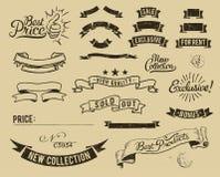 Icone di vendita dell'annata impostate royalty illustrazione gratis