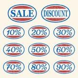 Icone di vendita dell'annata impostate illustrazione vettoriale
