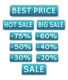 Icone di vendita in inglese Fotografia Stock Libera da Diritti