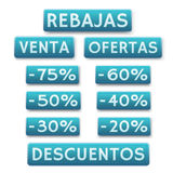 Icone di vendita nello Spagnolo Fotografia Stock