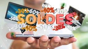 Icone di vendite della tenuta dell'uomo d'affari sopra la sua rappresentazione del telefono 3D Immagini Stock