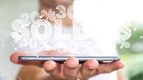 Icone di vendite della tenuta dell'uomo d'affari sopra la sua rappresentazione del telefono 3D Immagine Stock