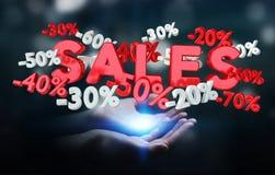 Icone di vendite della tenuta della donna di affari nella sua rappresentazione della mano 3D Fotografie Stock