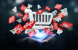Icone di vendite della tenuta della donna di affari nella sua rappresentazione della mano 3D Immagini Stock Libere da Diritti