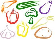 Icone di verdure Fotografia Stock