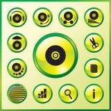 Icone di vetro dei dischi compatti di musica di eleganza Fotografie Stock Libere da Diritti