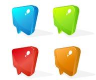 Icone di vetro del puntatore di colore Fotografie Stock