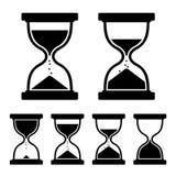 Icone di vetro dell'orologio della sabbia messe. Vettore Fotografie Stock Libere da Diritti