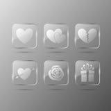 Icone di vetro di giorno dei biglietti di S. Valentino Fotografia Stock