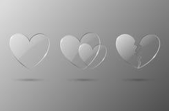 Icone di vetro di giorno dei biglietti di S. Valentino Immagini Stock
