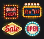 Icone di vettore aperto del nuovo anno di vendita di Black Friday retro Immagini Stock Libere da Diritti