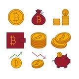 Icone di vettore di Bitcoin Fotografia Stock