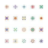 Icone 5 di vettore colorate fiocchi di neve Fotografia Stock