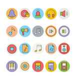 Icone 6 di vettore colorate musica Fotografia Stock