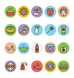 Icone 4 di vettore colorate STAZIONE TERMALE Immagini Stock Libere da Diritti