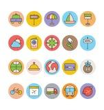 Icone 7 di vettore colorate viaggio Fotografia Stock Libera da Diritti