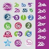 Icone di vettore con gli anniversari delle date di numeri illustrazione vettoriale