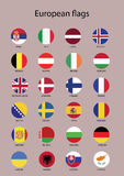 Icone di vettore con tutte le bandiere europee Immagine Stock Libera da Diritti