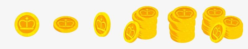 icone di vettore 3D per le monete di oro dalla vista differente Il migliore distintivo choice Premio del vincitore Immagini Stock