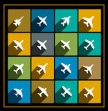 Icone di vettore degli aeroplani Fotografia Stock
