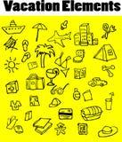Icone di vettore degli elementi di vacanza impostate Fotografie Stock