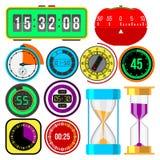Icone di vettore degli orologi e dell'orologio messe royalty illustrazione gratis