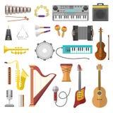 Icone di vettore degli strumenti di musica illustrazione di stock