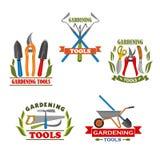 Icone di vettore degli strumenti di giardinaggio dell'azienda agricola Immagini Stock