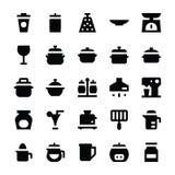 Icone 9 di vettore degli utensili della cucina Fotografia Stock
