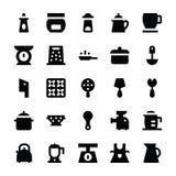Icone 10 di vettore degli utensili della cucina Fotografie Stock