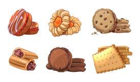 Icone di vettore dei biscotti messe nello stile del fumetto Immagini Stock Libere da Diritti