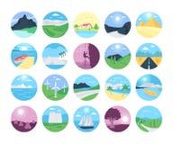 Icone 2 di vettore dei paesaggi Immagine Stock
