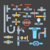 Icone di vettore dei tubi isolate Immagini Stock