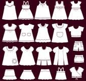 Icone di vettore dei vestiti del bambino per le ragazze Immagini Stock Libere da Diritti