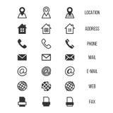 Icone di vettore del biglietto da visita, casa, telefono, indirizzo, telefono, fax, web, simboli di posizione Fotografia Stock