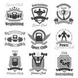 Icone di vettore del club di sport della palestra di forma fisica di sollevamento pesi Fotografie Stock Libere da Diritti