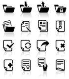 Icone di vettore del documento messe su gray. Fotografie Stock