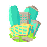 Icone di vettore del fumetto con il gruppo di finestre di vetro delle costruzioni a più piani vicino ai grattacieli l'ampia via d Fotografia Stock
