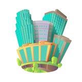 Icone di vettore del fumetto con un complesso immobiliare le finestre di vetro dei grattacieli Fotografie Stock