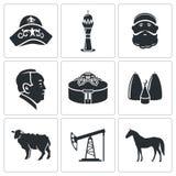 Icone di vettore del Kazakistan messe Fotografie Stock