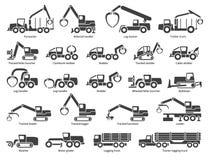 Icone di vettore del macchinario di silvicoltura messe royalty illustrazione gratis