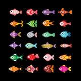 Icone di vettore del pesce sul nero Fotografia Stock Libera da Diritti