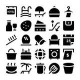 Icone 12 di vettore del ristorante & dell'hotel Immagini Stock