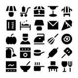 Icone 15 di vettore del ristorante & dell'hotel Fotografie Stock