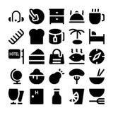 Icone 10 di vettore del ristorante & dell'hotel Immagini Stock