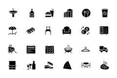 Icone 8 di vettore del ristorante e dell'hotel illustrazione vettoriale